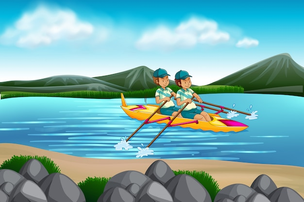 Man riding canoe in the lake Free Vector