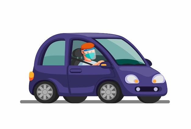 Man riding car wear mask and face shield Premium Vector
