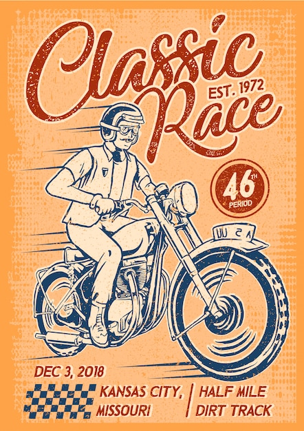 Man riding classic motorcycle poster Premium Vector