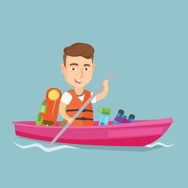 Man riding in kayak vector illustration. Premium Vector