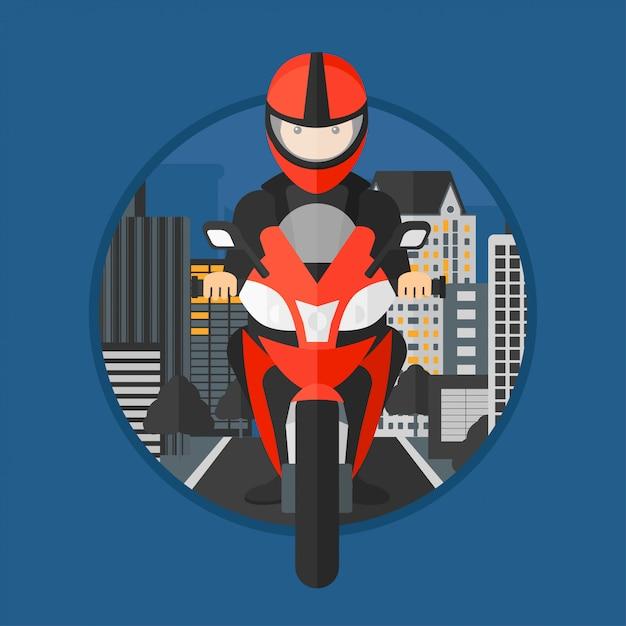 Man riding motorcycle. Premium Vector