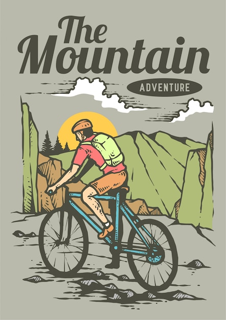 Man riding a mountain bicycle on the summer day with beautiful landscape of mountain in retro 80's vector illustration Premium Vector