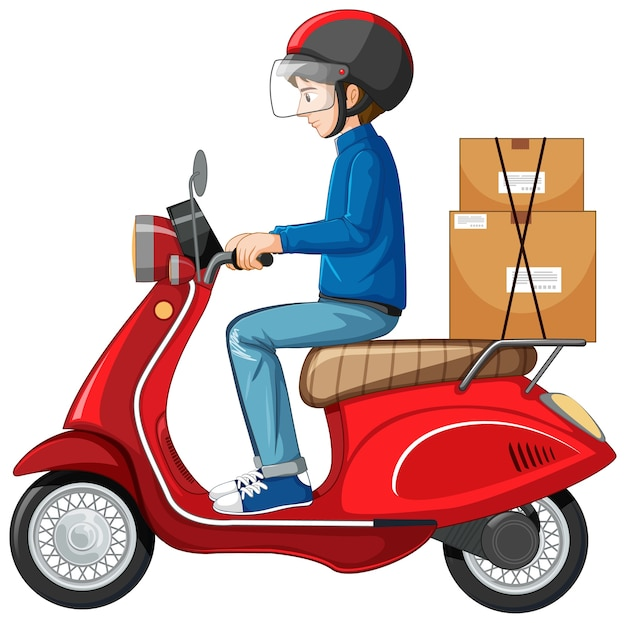 Man riding scooter on white background Free Vector