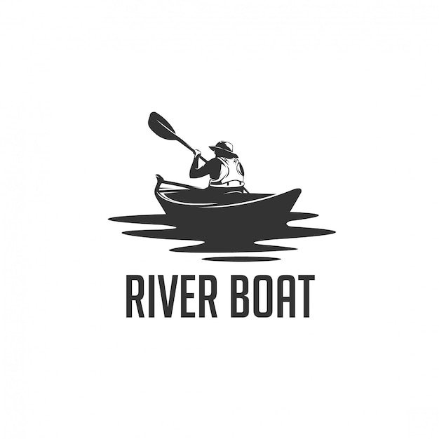 Man river boat silhouette logo Premium Vector