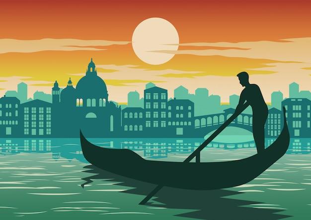 Man row boat в венеции, знаменитая достопримечательность италии Premium векторы