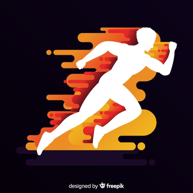 Man runner in flames background Free Vector