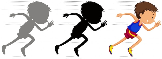 Man running in race with his silhouette Free Vector