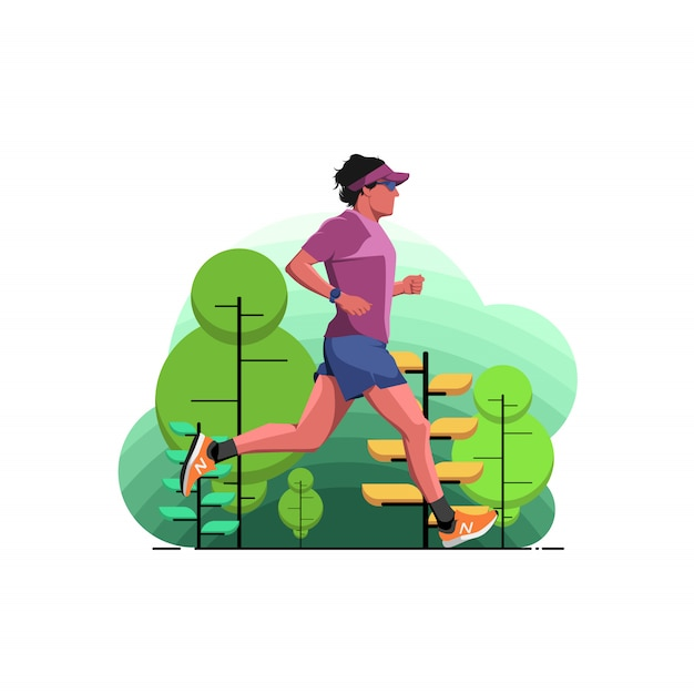 A man running in the park Premium Vector