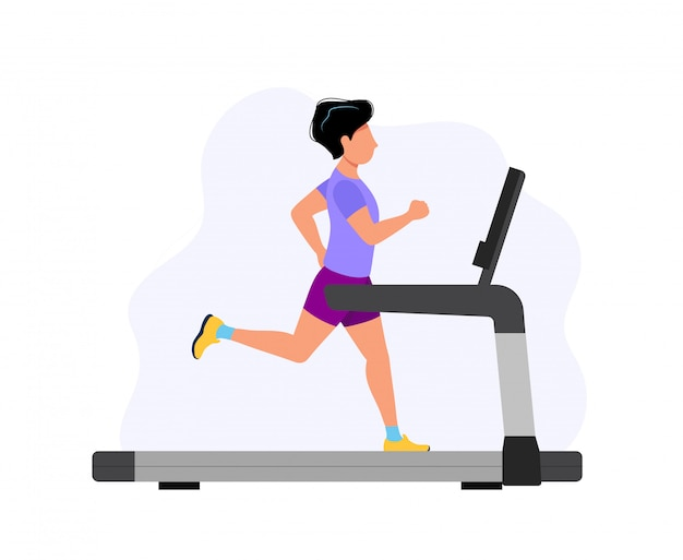 Man running on the treadmill, concept illustration for sport, exercising, healthy lifestyle, cardio activity. Premium Vector