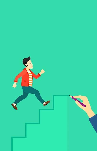 Man running upstairs. Premium Vector