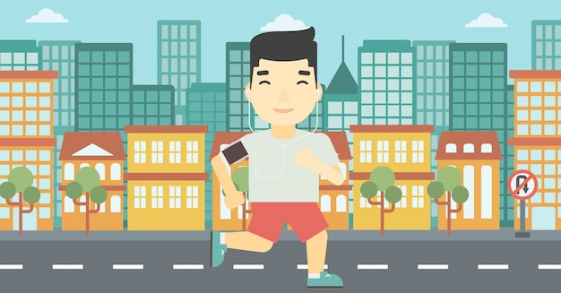 Man running with earphones and smartphone. Premium Vector