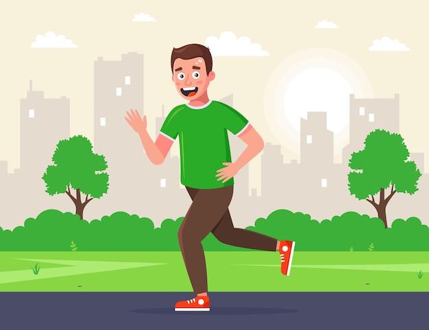 남자는 아침에 공원에서 달린다. 아침 조깅. 길거리에서 스포츠를하고 있습니다. 프리미엄 벡터