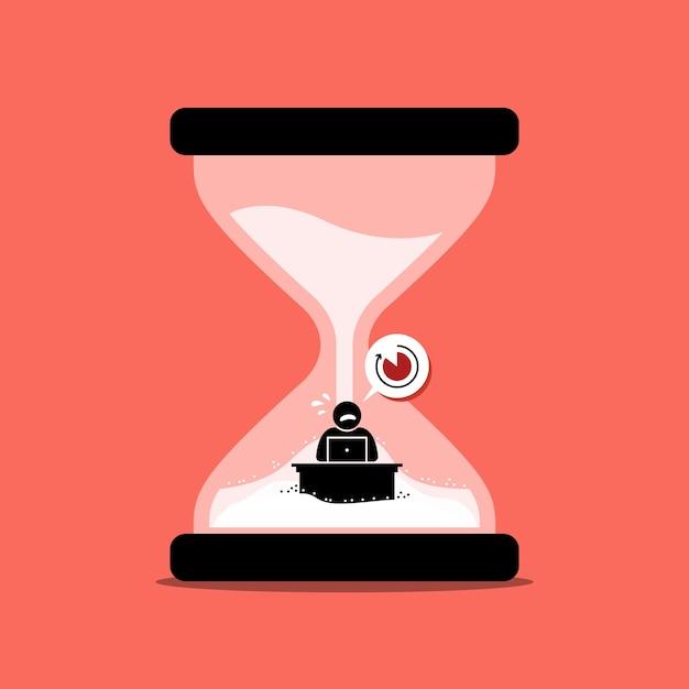 Человек спешит свою офисную работу внутри песочных часов или песочных часов, представляющих крайний срок. Premium векторы