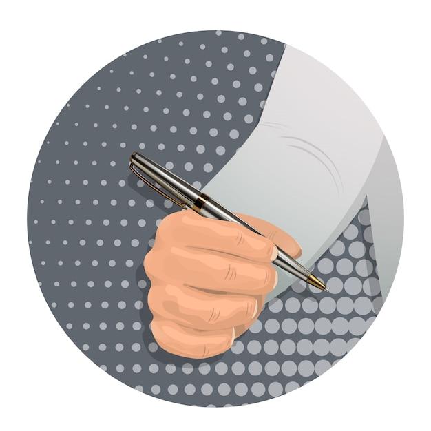 A man s hand holds a ballpoint pen. Premium Vector