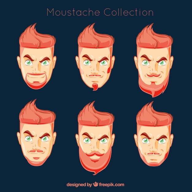 Man\'s head with different types of\ moustaches
