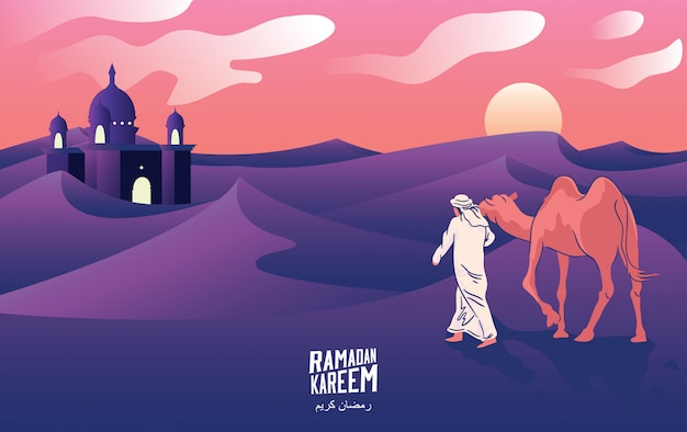 A man's journey with camels through the desert at night in welcoming ramadan kareem, vector illustration. -vector Premium Vector