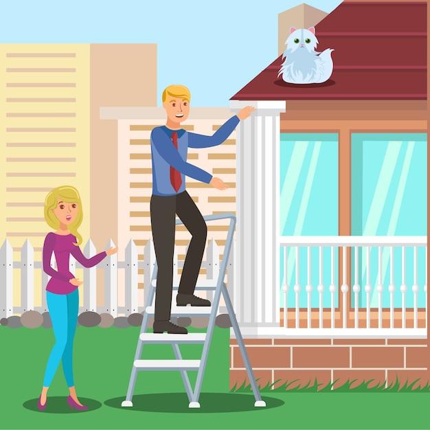 Man saving cat from roof Premium Vector