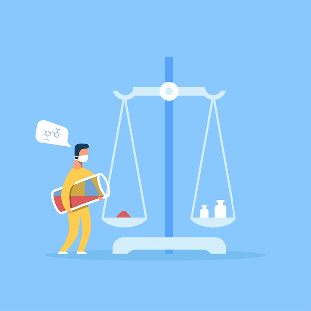 Man scientist weighs chemical powder on scales Premium Vector