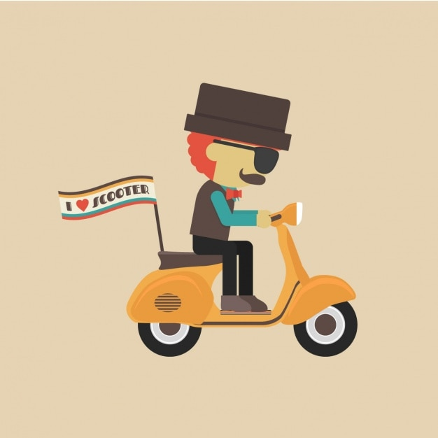 Man in a scooter design Free Vector