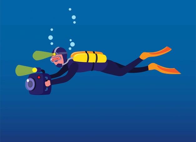 Man scuba diving holding camera, cameraman recording under water in ocean with flash light cartoon in flat illustration Premium Vector
