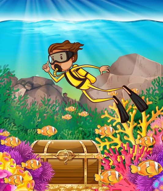 Man scuba diving under the ocean Free Vector