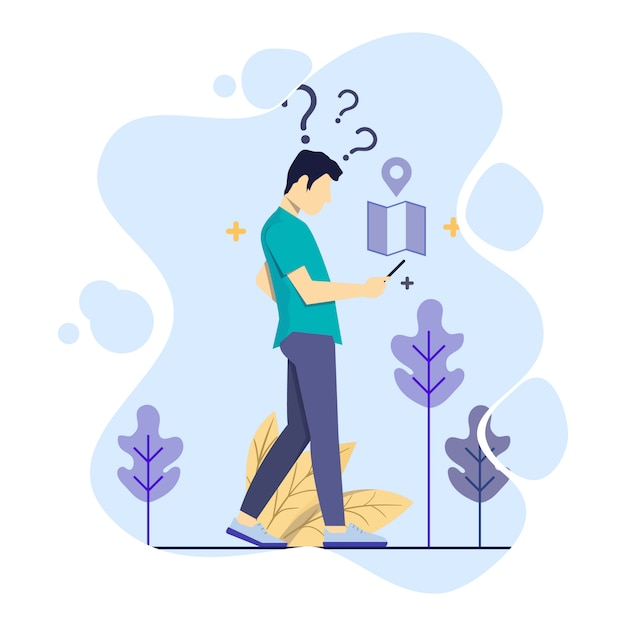 Man search for addresses using gps illustration concept Premium Vector