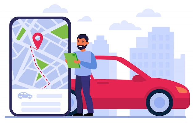 Man searching car for rent Free Vector