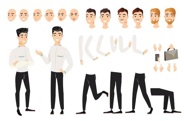 Человек установлен с различными положениями частей тела. мультяшный мужской персонаж в разных взглядах, позах, Premium векторы