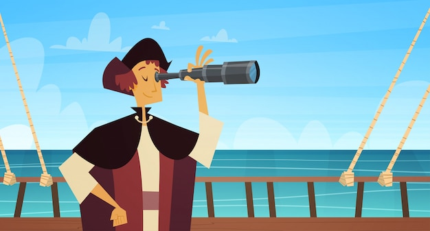 Man on ship with spyglass happy columbus day national usa holiday concept Premium Vector