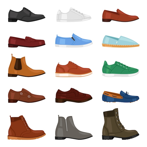 男靴ファッション男性ブーツとクラシックレザーシューズや白い背景の靴屋で靴ひもで男らしい足ギア靴の男性イラストセットのフットギア Premiumベクター