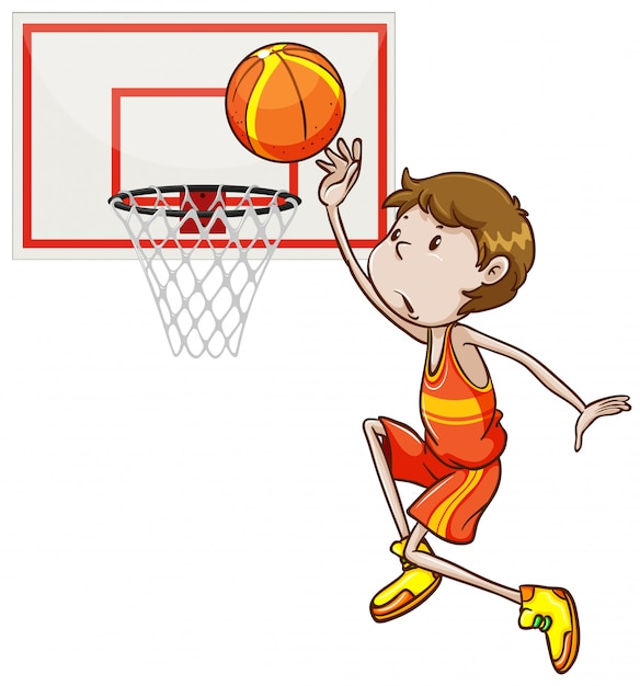 Man shooting basketball in the hoop Free Vector