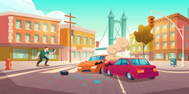 男がスマートフォンで自動車事故を撃つ 無料ベクター