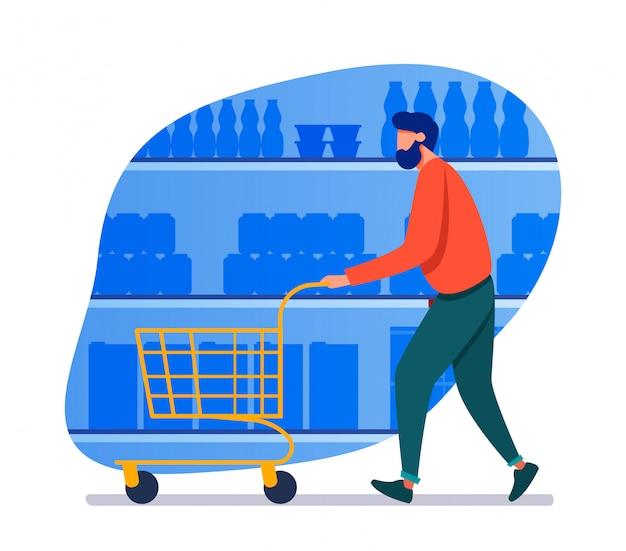 Человек, делающий покупки в супермаркете Бесплатные векторы