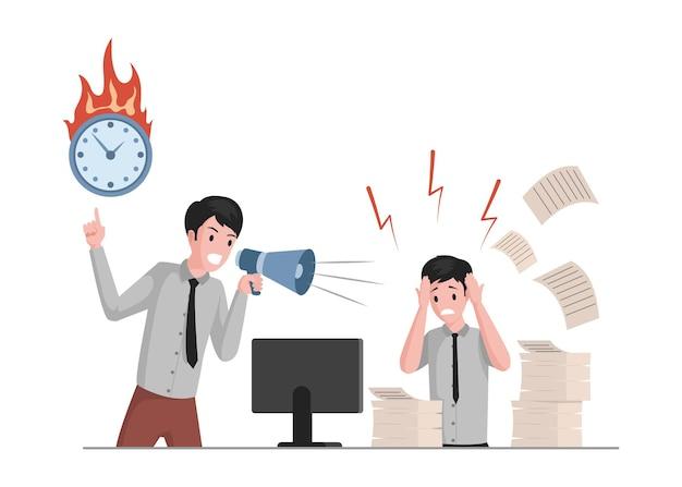 Человек кричит в мегафон на иллюстрации офисного работника Premium векторы