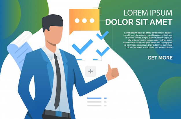 Man showing thumb up and recommending business product Free Vector