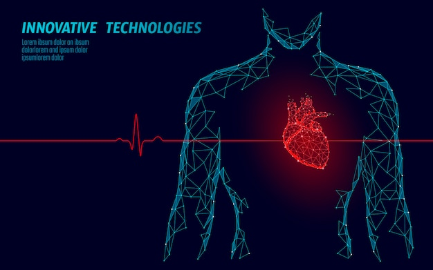 Man silhouette healthy heart beats 3d medicine model low poly. Premium Vector