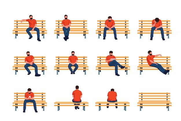 Man sit on bench Premium Vector