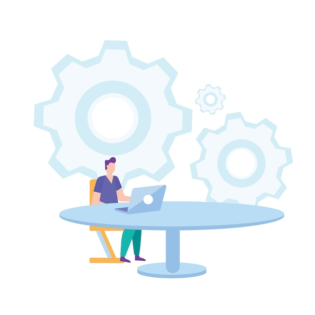 Man sit on chair at table working on laptop. Premium Vector