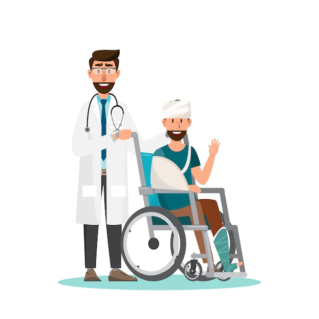 Man sit on a wheelchair with doctor take care. Premium Vector