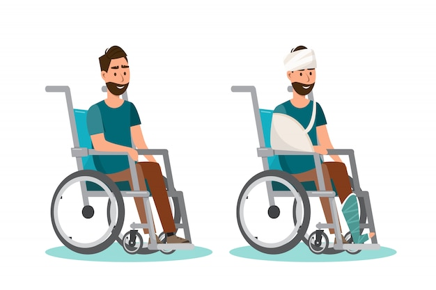 Man sit on a wheelchair with white background Premium Vector