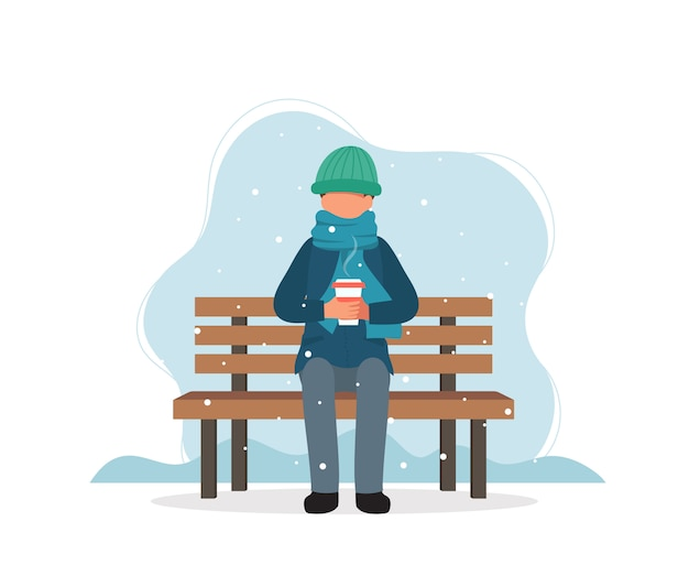 Man sitting on bench in winter with coffee. Premium Vector