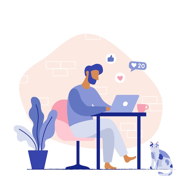 Man sitting on the chair working on the laptop. freelancer home workplace. vector flat illustration. Premium Vector