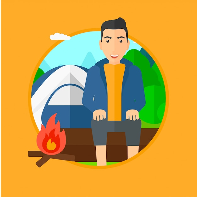 Man sitting on log in the camping. Premium Vector