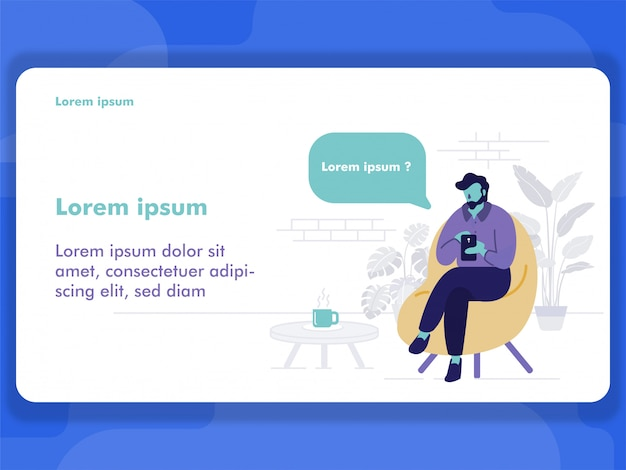 Man sitting and using smartphone for mobile businness Premium Vector