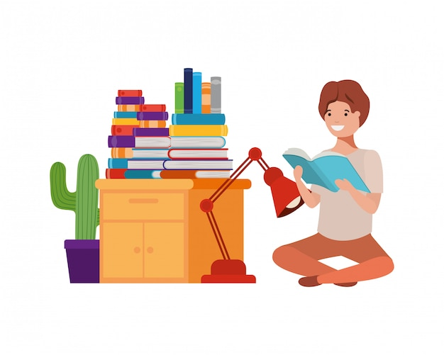 Man sitting with stack of books Premium Vector