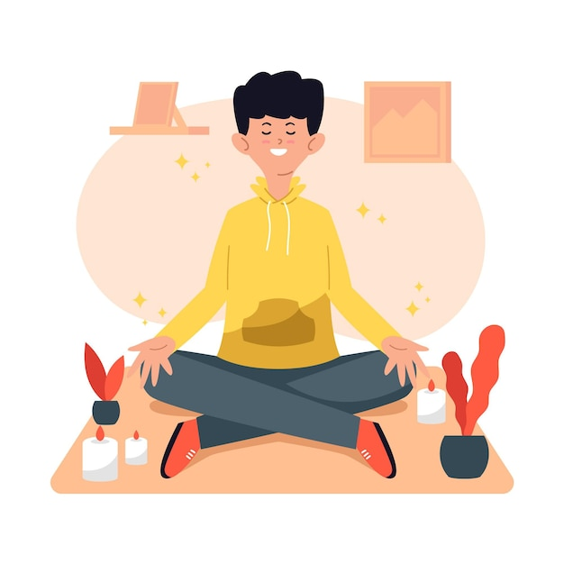Man sitting in yoga position and meditate Free Vector