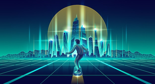 Человек, скейтбординг в будущем мегаполисе вектор Бесплатные векторы