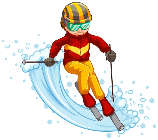 Man skiing isolated concept Free Vector