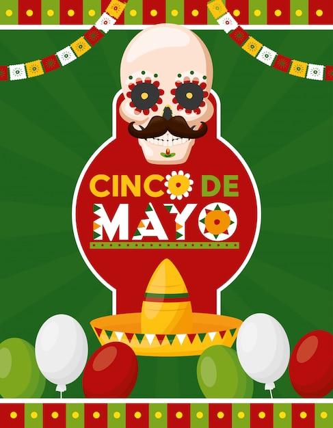 Череп человека с объявлением мексиканского праздника и воздушными шарами Бесплатные векторы
