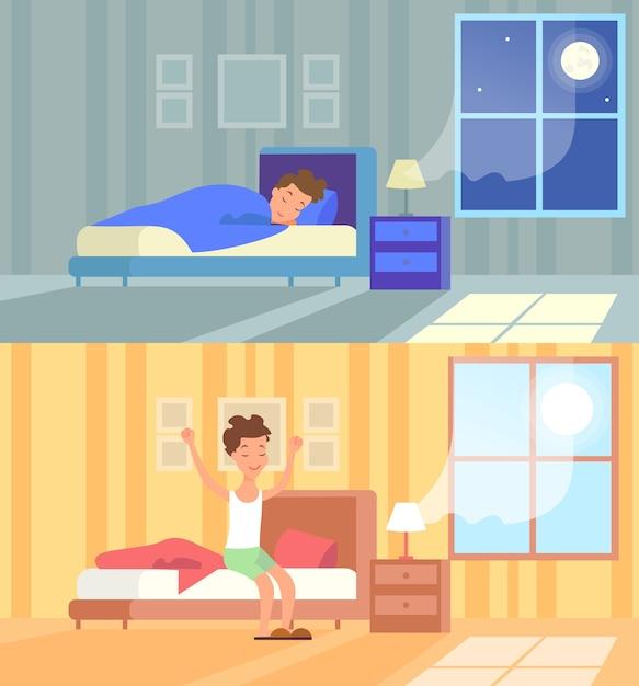 Человек спит ночью и просыпается утром. доброе утро, начало дня, просыпайся Premium векторы